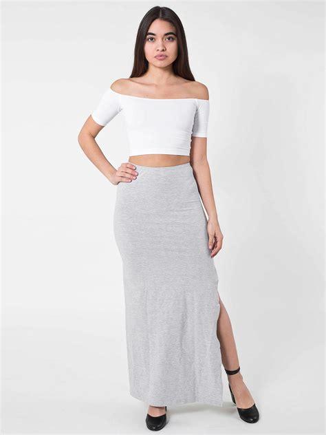 cotton spandex slit maxi skirt american apparel