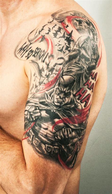 joker sleeve tattoo designs batman tattoos comic book tattoos for batman