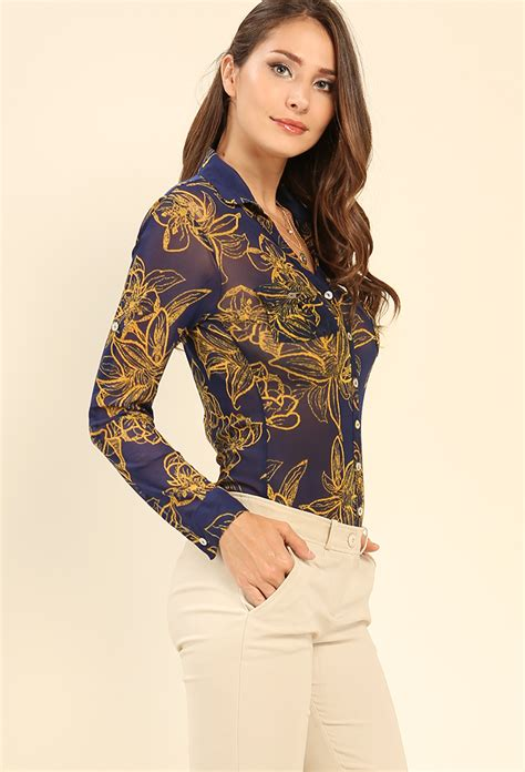 Blouse Semi Rajutrealpict Fashion semi sheer floral print button blouse shop new and