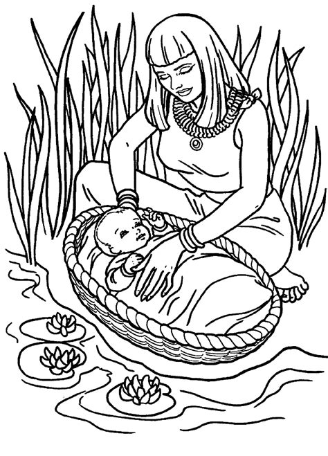 moses coloring pages preschool cute baby moses with mom coloring pages for little kids