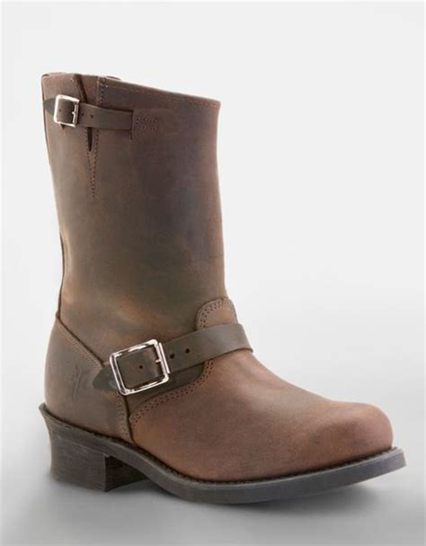 frye engineer leather boots in brown brown leather