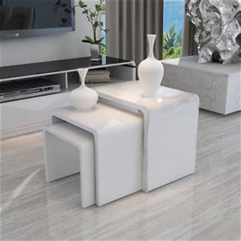 Modern Round Dining Room Sets modern design white high gloss nest of 3 coffee table side