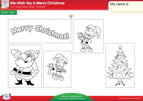 We Wish You A Merry Christmas Worksheet Color Cut We Wish You A Merry Coloring Pages