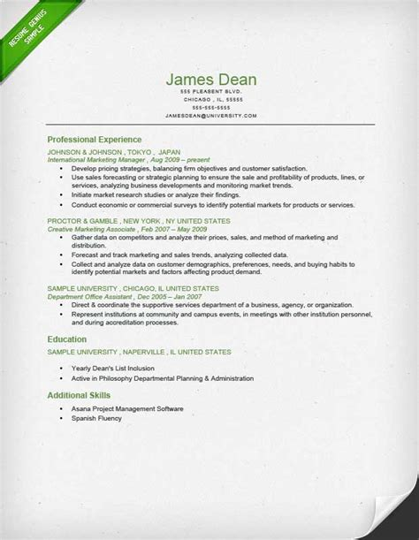 reverse chronological resume samples job placement cooperative