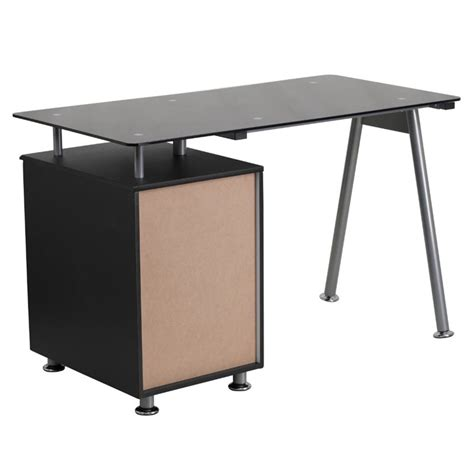 Top Desks For Home Office 3 Drawer Glass Top Home Office Desk In Black Nan Wk 021a Gg