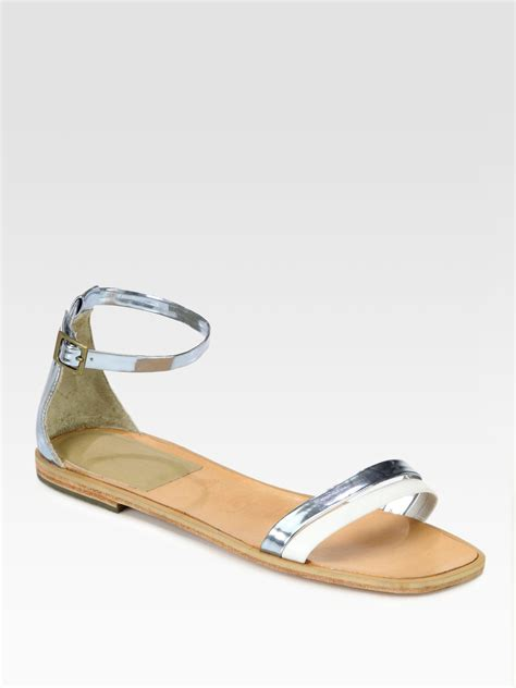 white and silver sandals comey pina metallic leather ankle sandals in