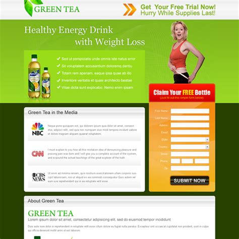 Green Tea Healthy Energy Drink For Weight Loss Landing Page Design For Sale Energy Drink Website Templates