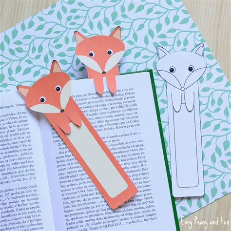 Printable Bookmark Ideas | printable fox bookmarks diy bookmarks easy peasy and fun
