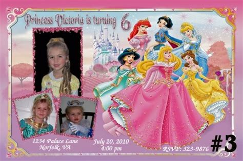 disney princess birthday invitations custom disney princess custom photo birthday invitation