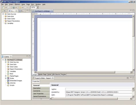 birt layout editor creating a new report with the birt report designer