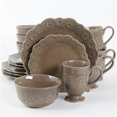 gibson elite eyelet lace 16 dinnerware set brown