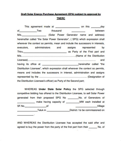 solar power purchase agreement template 8 power purchase agreement to sle templates