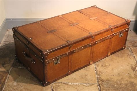 large bespoke leather trunk coffee table