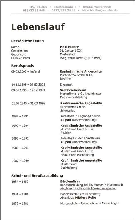 Lebenslauf Muster Ohne Bild 4 Aktueller Moderner Ausf 252 Hrlicher Lebenslauf Id 445 Seite 1 2 Aaarbeit De