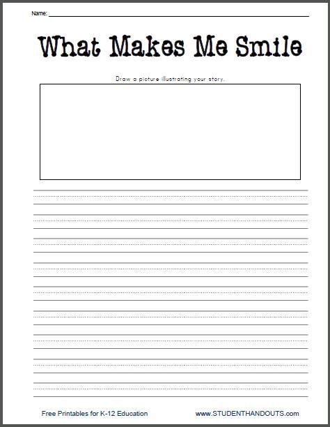 free printable worksheets for kindergarten writing what makes me smile free printable k 2 writing prompt