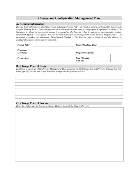 Change And Configuration Management Plan Template 1 2 Configuration Management Policy Template