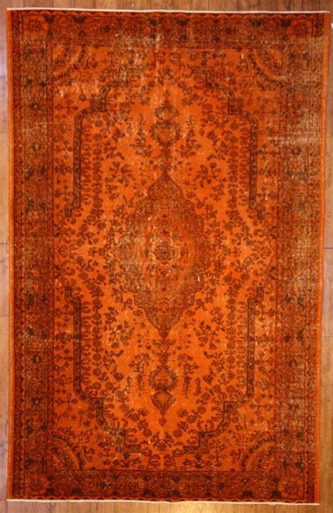 orange rug burnt orange overdyed rug