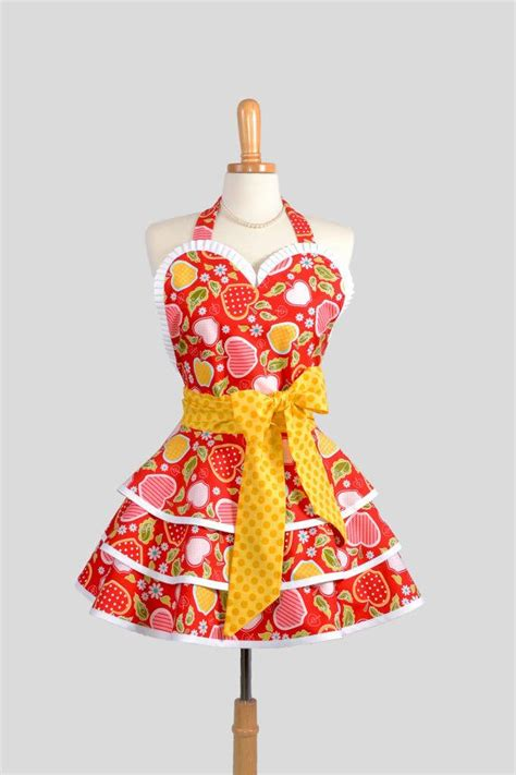 retro pinup apron handmade womens apron