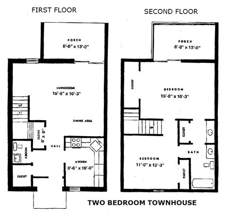 townhouse floor plans 2 bedroom townhouse
