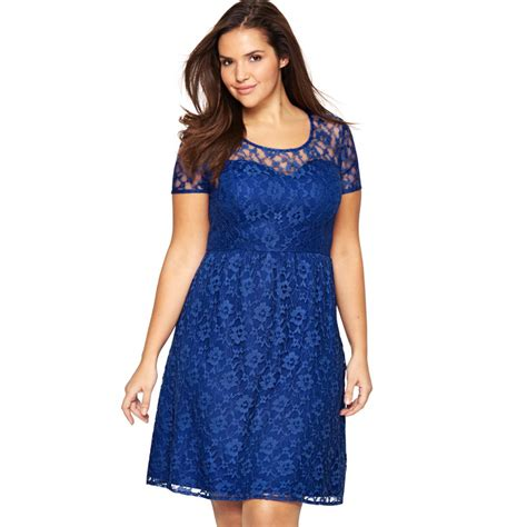 Voerin Dress Lace Size S europe halter blue lace dress plus size sleeve summer dress 2016 dresses for