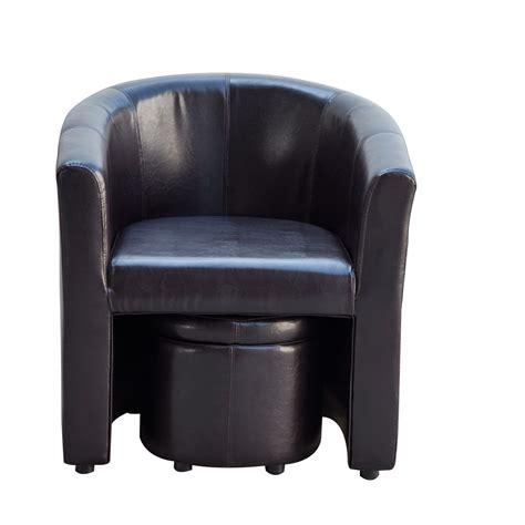 barrel chair and ottoman homcom pu leather tub barrel club arm seat chair w