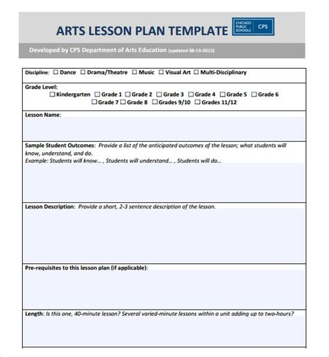 visual arts lesson plan template high school lesson plan format lesson plan templates