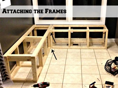 how to build a banquette seat attaching two frames for a corner banquette bench