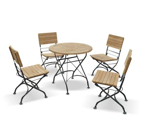 Teak Garden Dining Sets Bistro 0 8m Table 4 Chairs Teak Metal Folding