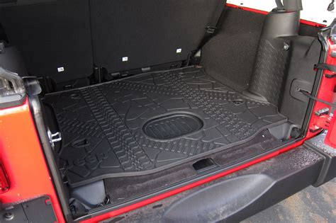 cargo mat for jeep wrangler unlimited with subwoofer 2015 18 jeep wrangler jk unlimited rear cargo mat tray