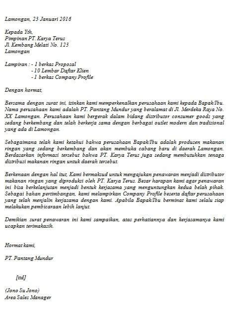 Contoh Surat Permintaan Produk by Contoh Surat Penawaran Barang Dan Harga Lengkap