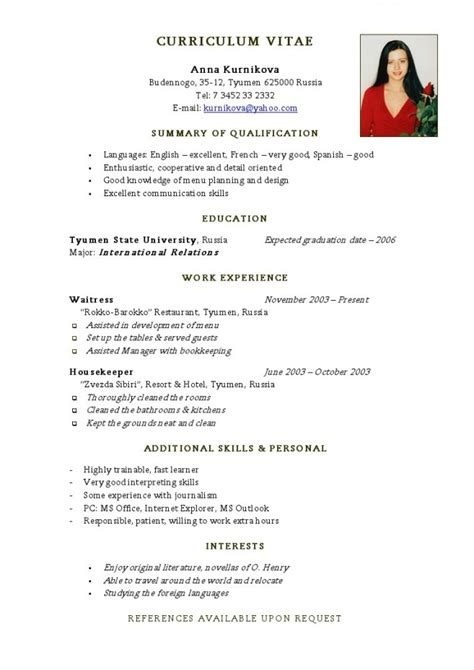 Resume Sample Format For Abroad by Best Cv Samples Template Download 2016 In Ms Word Pdf Format