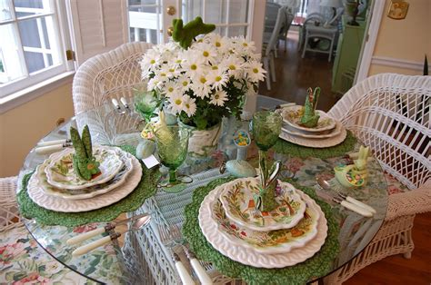 Easter Table Settings by Easter Table Setting Tablescape With Floral Centerpiece
