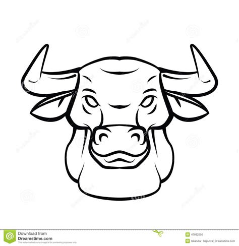 bull head tattoo vector illustration stock vector image