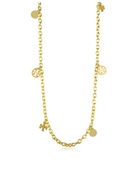 burch gold plated logo charm rosary necklace in