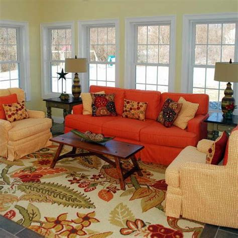 Orange Sofa Decorating Ideas by Cottage Style Decorating With Orange Sofa Furniture