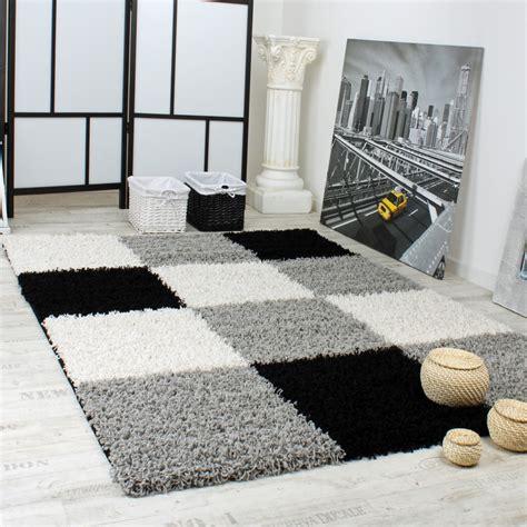 Teppich Schwarz Grau Weiß by Shaggy Teppich Hochflor Langflor Gemustert In Karo Grau