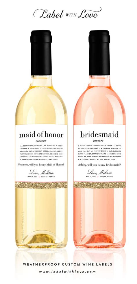 will you be my meaning will you be my bridesmaid definition wine bottle labels