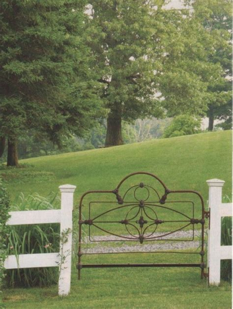 iron gate headboard iron bed becomes a gate content in a cottage