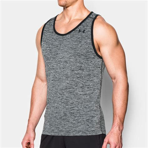 Tank Top Logo Vest Merah armour tech mens grey black singlet running