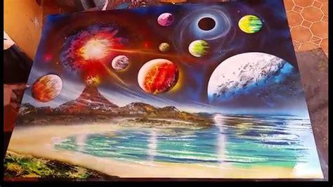 spray paint porfirio jimenez planets and volcano spray