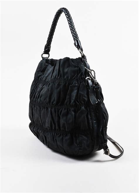 prada prada black nylon gaufre leather ruched braided