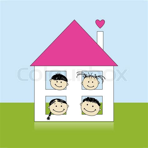 Mother Daughter House Plans by Happy Family At Own House Smiling Together Drawing Sketch