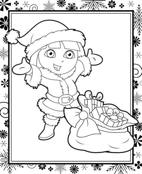 dora christmas coloring pages free printable christmas coloring pages