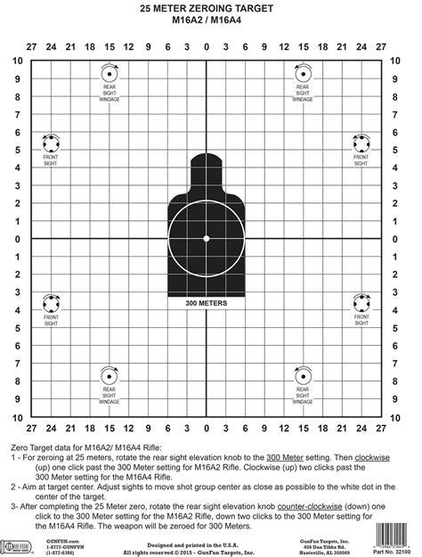 printable zeroing targets m16 a2 a4 zeroing target black 32100 gunfun shooting