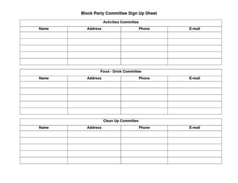 template lop doc potluck sign up sheet template sle block party