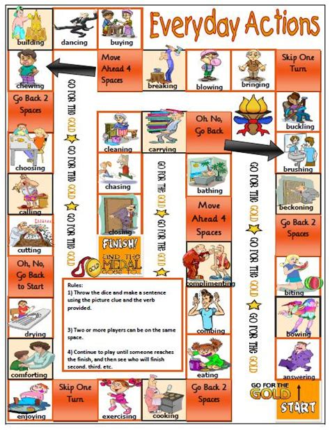 verb pattern board game action verbs boardgame