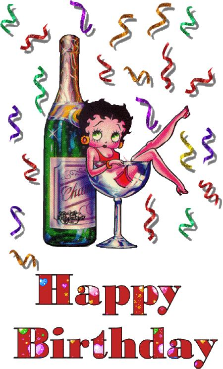 wine birthday gif alfabeto animado de betty boop con chagne alfabetos