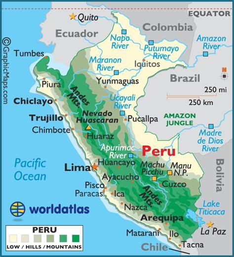 peru map peru large color map