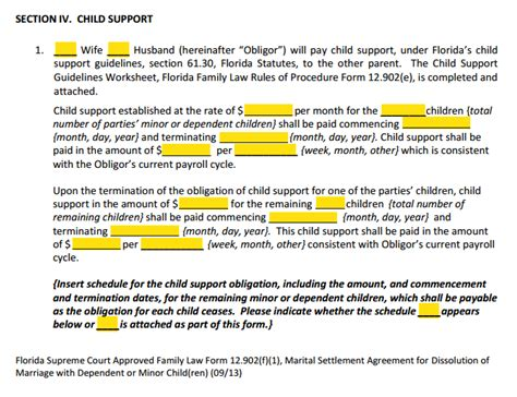 section 7 child support form 12 902f1 marital settlement agreement divorce with