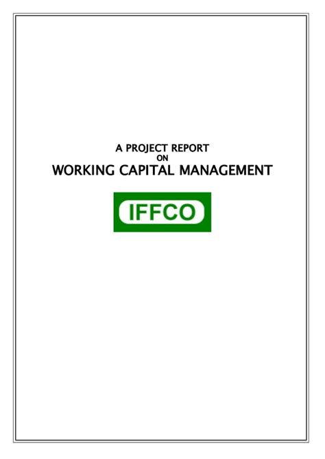 Working Capital Management Project Report For Mba by Project Report On Working Capital Mgmt